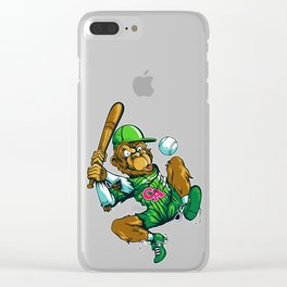 Baseball Monkey - Lime Clear iPhone Case