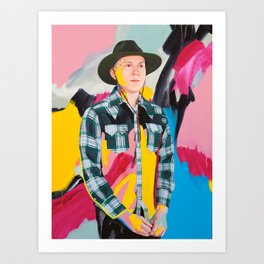 Brian with pink, blue and yellow Art Print