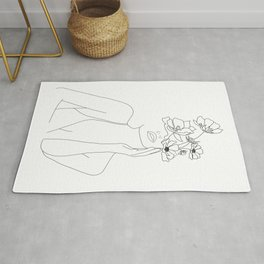 Minimal Line Art Woman with Flowers Rug