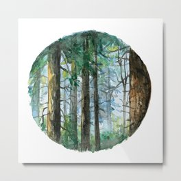 Watercolor Forest Metal Print