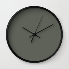 Dark Pine Green Solid Color Pairs w/ Sherwin Williams Haven 2020 Forecast Color Pewter Green SW6208 Wall Clock