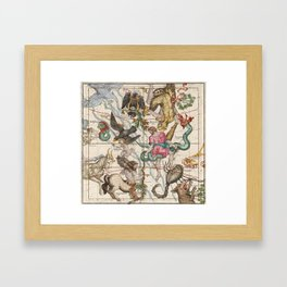 Vintage Constellation Map - Star Atlas - Sagittarious - Scorpio Framed Art Print