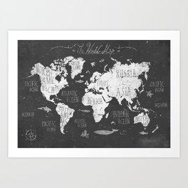 The World Map B/W Art Print