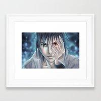 sasuke Framed Art Prints featuring Sasuke Uchiha by sing-sei