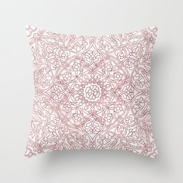 Rose Gold Marble Mandala Throw Pillow