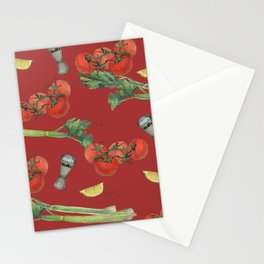 cocktail recipe pattern_ bloody mary Stationery Cards