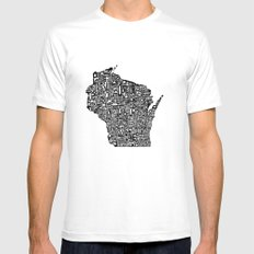 Typographic Wisconsin X-LARGE Mens Fitted Tee White