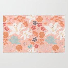 Orange Japanese pond florals Rug