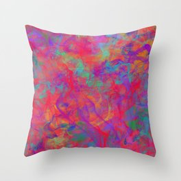 ABSTRACT - COLOR - SMOKE - RED Throw Pillow