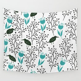 Kiwi Garden - black and blue, floral design with tulips and birds Wall Tapestry