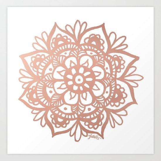 Rose Gold Mandala Art Print By Julie Erin Designs Society6