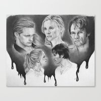true blood Canvas Prints featuring True Blood Love Triangle by dmbgal07