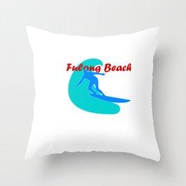 Surf, Fulong Beach and fun Throw Pillow