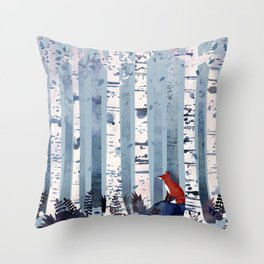 The Birches (in Blue) Throw Pillow