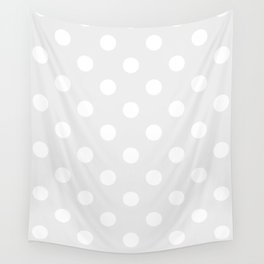 Polka Dots - White on Pale Gray Wall Tapestry