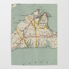 Vintage Map of Martha's Vineyard (1917) Poster