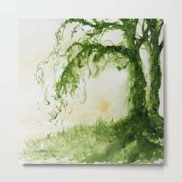 Green Sap Green WaterColour Tree by CheyAnne Sexton Metal Print