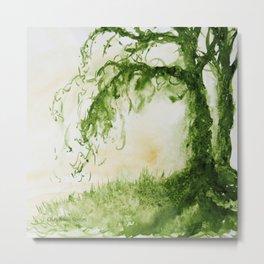 Green Sap Green WaterColour Tree by CheyAnne Sexton Metal Print