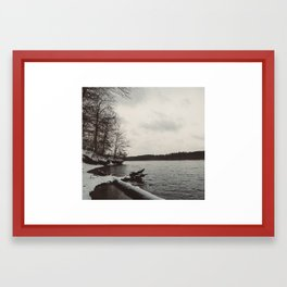 Snow at Falls Lake (Raleigh, North Carolina) Framed Art Print