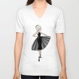 Little Black Panel Dress Unisex V-Neck