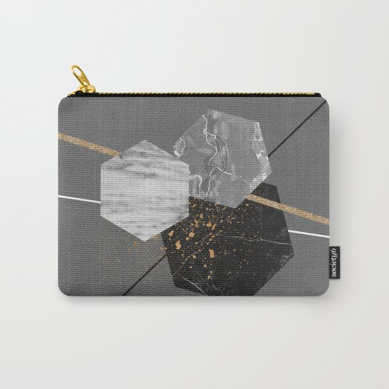 Marble Exagons and Gold Carry-All Pouch