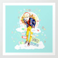 shinee Art Prints featuring SHINEE JONGHYUN by Haneul Home