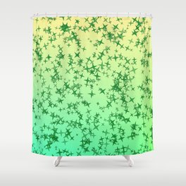 Green Stars Shower Curtain