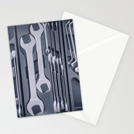Set of Wrenches inside Toolbox, Keys and Spanners, Box with Set of Tools, Set Mechanical Tools. Stationery Cards