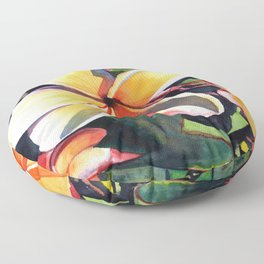 Kauai Rainbow Plumeria Floor Pillow