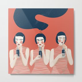 Three Girls in Red Metal Print