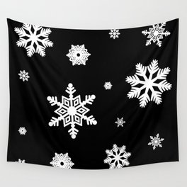 Snowflakes | Black & White Wall Tapestry