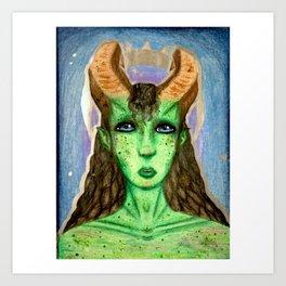 Green Alien Queen Art Print