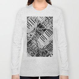 analog synthesizer  - diagonal black and white illustration Long Sleeve T-shirt