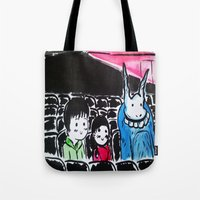 donnie darko Tote Bags featuring Donnie Darko - At the Cinema  by Ayemaiden