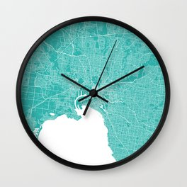 Melbourne map turquoise Wall Clock