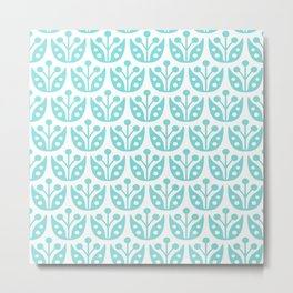 Mid Century Modern Flower Pattern 731 Turquoise Metal Print