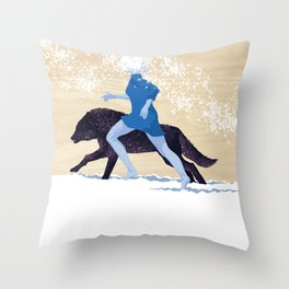 Running with the Wolves Throw Pillow