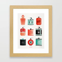 Flask Collection – Red & Turquoise Palette Framed Art Print