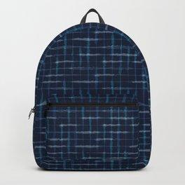 Hand Drawn Check Pattern Indigo Blue Grunge Grid Backpack
