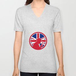 British Private Investigator Union Jack Flag Icon Unisex V-Neck