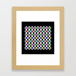 Retro 3 - Abstract, multicoloured, bold, chekkered, checkered pattern Framed Art Print