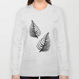 Black Watercolor Leaf Long Sleeve T-shirt