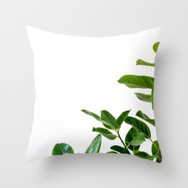 Minimalist Mid Century Abstract Houseplant Green Leaves Fig Tree Throw Pillow