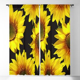 Large Sunflowers on a black background - #Society6 #buyart Blackout Curtain