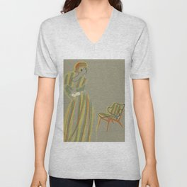 Woman and Chair #1 Unisex V-Neck
