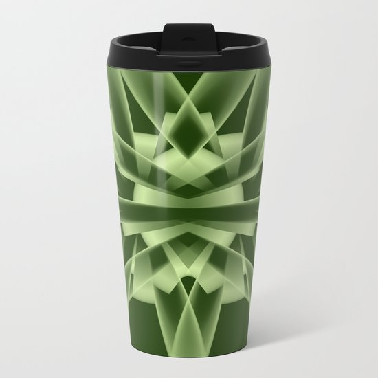 Abstract in green tones Metal Travel Mug