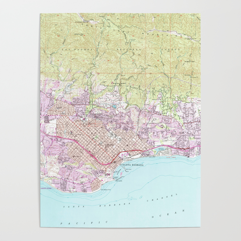 Santa Barbara California Map.Vintage Map Of Santa Barbara California 1952 Poster By Bravuramedia