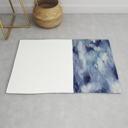 Blue Acrylic Abstract Painting Rug