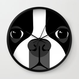 Boston Terrier Close Up Wall Clock