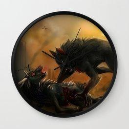 Post apocalyptic beasts Wall Clock
